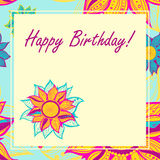 Vector postcard with flowers. Happy Birthday. Royalty Free Stock Image