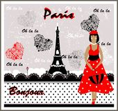 Vector Postcard with France Image. Frenchwoman Stock Photos