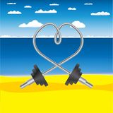 Barbell at the beach. Vector postcard with the heart shaped barbell at the sandy sea shore with the sea and clouds on the background Stock Photography