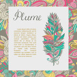Vector postcard with plume and text sample. Stock Image