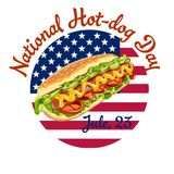 Vector postcard poster or banner for national hot dog day. Featuring a hot dog with cucumbers and salad against the background of the American flag Stock Image