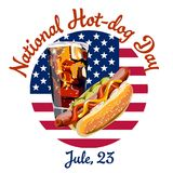 Vector postcard poster or banner for a national hot dog day. Featuring a hot dog and a cola glass against the background of the American flag Stock Image