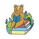 Vector postcard with reading bear Stock Photos