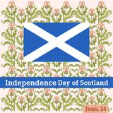 Vector postcard to the Independence Day of Scotland with a pattern from a thistle vector illustration