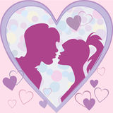 Vector Postcard to the Valentine's Day. Silhouettes kiss a girl and a guy in a frame of hearts Royalty Free Stock Photo