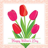 Vector postcard with tulips Stock Photos