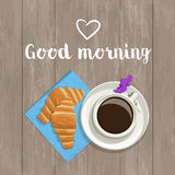 Vector postcard with the words and hearts. The composition of coffee, fresh croissants on a napkin, inscription, heart and flower on a wooden background, top Royalty Free Stock Image
