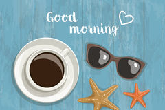 Vector postcard with the words and hearts. Sea morning composition coffee, sunglasses, starfish, text and heart on a wooden background, top view Stock Image