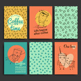 Vector postcards template set. Hand drawn coffee to go characters Royalty Free Stock Photo