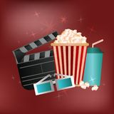 Vector poster for advertising cinema or movie on a red backgroun. D with popcorn, drink glasses 3d and stop frame Stock Image