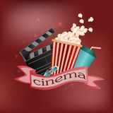 Vector poster for advertising cinema or cinema on a red backgrou. Nd with popcorn, drink glasses 3d and stop frame with the inscription and text Royalty Free Stock Image