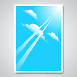 Vector poster with airplane in the sky Royalty Free Stock Images