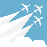Vector poster with airplanes. Minimalistic style, card for travel agencies, aviation companies. Jets in blue sky Stock Photo