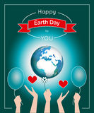 Vector poster for 22 April, Earth Day. International Mother Earth Day. The planet in blue and white colors. Globe and red ribbon as a concept for Earth Day Stock Image
