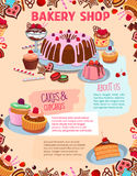 Vector poster for bakery shop cakes and desserts Stock Photography