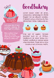 Vector poster for bakery shop pastry desserts. Pastry or bakery shop poster of sweets and desserts. Vector design of cakes, chocolate brownie biscuits and Stock Photo