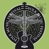 Folk music festival poster or banner with guitar stock illustration