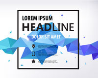 Vector Poster, Banner, Flyer, Cover, Brochure. Template design. Modern crystal 3d shape with text space and square frame. Blue faceted shape Royalty Free Stock Photo