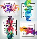 Vector Poster, Banner, Flyer, Cover, Brochure. Template design. Modern crystal 3d shape with text space and square frame. Set Royalty Free Stock Photography