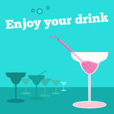 Vector poster, banner with goblet of cocktail Royalty Free Stock Photos