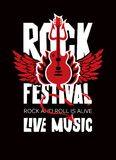 Banner for Rock Festival of live music. Vector poster or banner for Rock Festival of live music with an electric guitar, wings, fire and devil trident. Rock and Royalty Free Stock Images