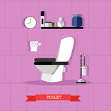 Vector poster with bathroom furniture, toilet and accessories in flat style royalty free illustration