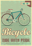Vector poster with the bike in grunge style Royalty Free Stock Photo