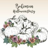 Vector poster for bohemian Halloween party. Goat skull with pumpkins and rose. Decorated with lettering. Royalty Free Stock Image