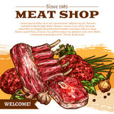 Vector poster for butchery shop meat products Stock Photos