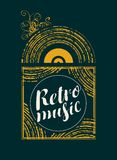 Retro music banner with vinyl record. Vector poster with calligraphic inscription Retro music and black vinyl record in grunge style Stock Image