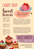 Vector poster for candy shop pastry desserts. Candy shop desserts poster. Vector design of pastry cakes, biscuit sweets and chocolate cupcakes, tiramisu or Stock Image
