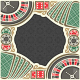 Vector poster for Casino. Frame with black background for text on casino gambling theme, border with roulette wheel up, red dice for craps, gaming chips for Stock Photos
