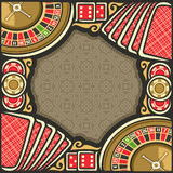 Vector poster for Casino. Frame with brown background for text on casino gambling theme, border with roulette wheel up, red dice for craps, gaming chips for Royalty Free Stock Photography