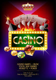 Vector poster for casino night. Vector poster with burn pattern, cards, colors, dice and chips for casino night Royalty Free Stock Image