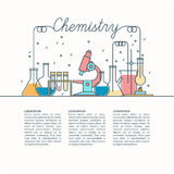 Vector poster for Chemistry. The background of teaching chemistry. Vector illustration with Chemical devices for lessons, modern on a light background Royalty Free Stock Image