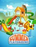 Vector poster of children playground. Stock Photos