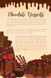 Vector poster of chocolate desserts bakery. Chocolate desserts, cakes and pies poster for patisserie or bakery shop. Vector design of choco cupcakes, tiramisu or Royalty Free Stock Photos