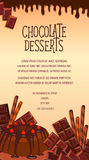 Vector poster of chocolate desserts and cakes Stock Images