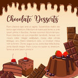 Vector poster of chocolate desserts and cakes. Chocolate desserts and sweet cakes. Vector poster for bakery shop or confectionery of choco pies or tiramisu Stock Photos