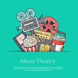 Vector cinema doodle icons background illustration. Vector poster cinema doodle icons background with place for text illustration Royalty Free Stock Image