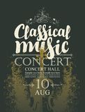 Poster for concert of classical music with violin. Vector poster for a concert of classical music with handwritten inscription and place for text on abstract Stock Photography