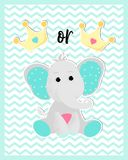Vector poster of a cute baby elephan vector illustration