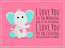 Vector poster of a cute baby elephant royalty free illustration