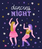 Vector poster with dancing girls. Party invitation or dance banner design with text. Vector poster with dancing girls. Party invitation or dance banner design Stock Images