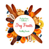 Vector poster of dried fruits and dry fruit snacks. Dried fruits or dry fruit snacks poster. Vector sweet raisins, prunes or pineapple and dried apricots, dates Stock Photos