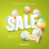 Vector Poster for Easter Sale with 3d text, colored eggs, ribbon and grass on the green background. Poster for Easter Sale with 3d text, colored eggs, ribbon Royalty Free Stock Image