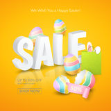 Vector Poster for Easter Sales with 3d text, colored eggs, ribbon, paper shopping bag and and ears of a bunny on the orange. Poster for Easter Sales with 3d Stock Photography