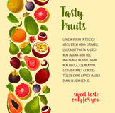 Vector poster of exotic and fresh tropical fruits Royalty Free Stock Image