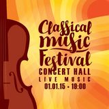 Poster for festival classical music with violin. Vector poster for a festival of live classical music with the image of a violin on the colored background royalty free illustration