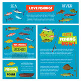 Vector poster for fishing club trip. Fishing vector posters and banners for fisherman club or trip tour license information. Design of fisher tackle floats and Royalty Free Stock Photo